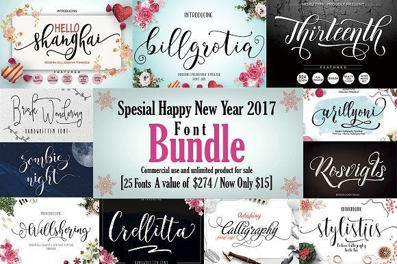 25 IN 1 FONT BUNDLE  In this package has 25 beautiful #fonts, in the value of $274 for $18, now get it immediately with a very low price of $15 ( #calligraphy #typography #lettering #quotes #branding #bloggers #handwriting #watercolor #typeface #vintage #feminine #romantic #logodesign )