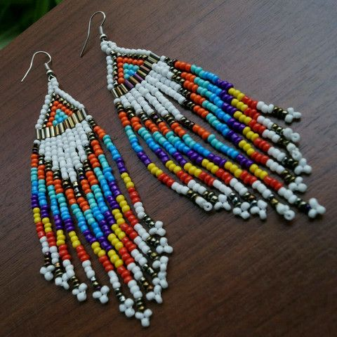 Ethnic Beaded Fringe Earrings