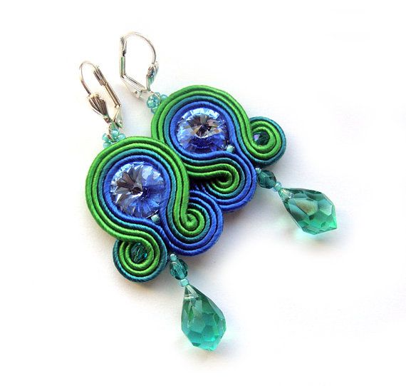 Statement soutache earrings sea blue Christmas Gift by SaboDesign, $40.00