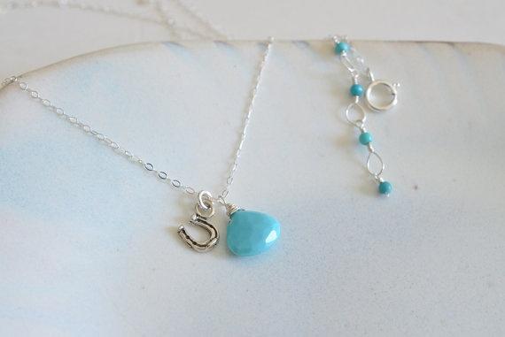 Sleeping Beauty Turquoise & Horseshoe Charm Necklace by JooniJewelry, $32.00