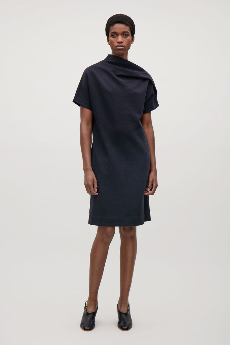 COS image 1 of Jersey dress with drape  in Navy