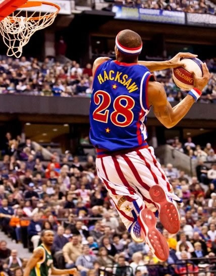 #28 Hacksaw can fly.  And you can try to fly in his jersey.  Get Hacksaw's Harlem Globetrotters jersey here.