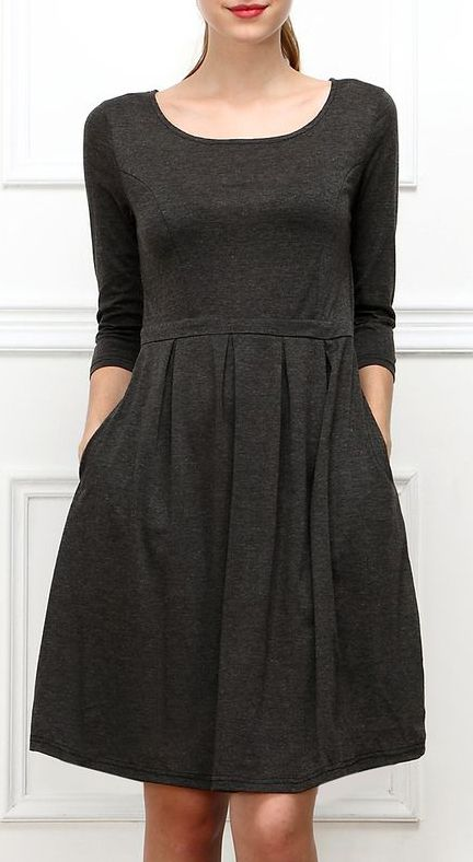 Charcoal Pleated Fit & Flare Dress ~~ fun and basic  Love the pockets