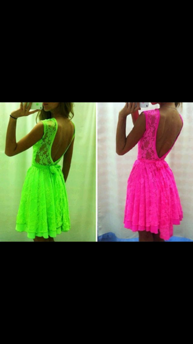 Neon green dress or hot neon pink dress?