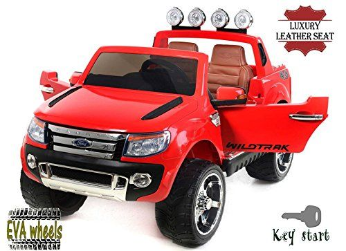 Ford Ranger Wildtrak Luxury Elektrisches Auto für Kinder, 2 MOTOREN, Zweisitzer in Leder