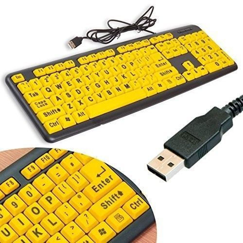 Cheap USB Keyboard UK With Qwerty Layout Big Letters Yellow Keys For PC Desktop #CheapUSBKeyboardUK