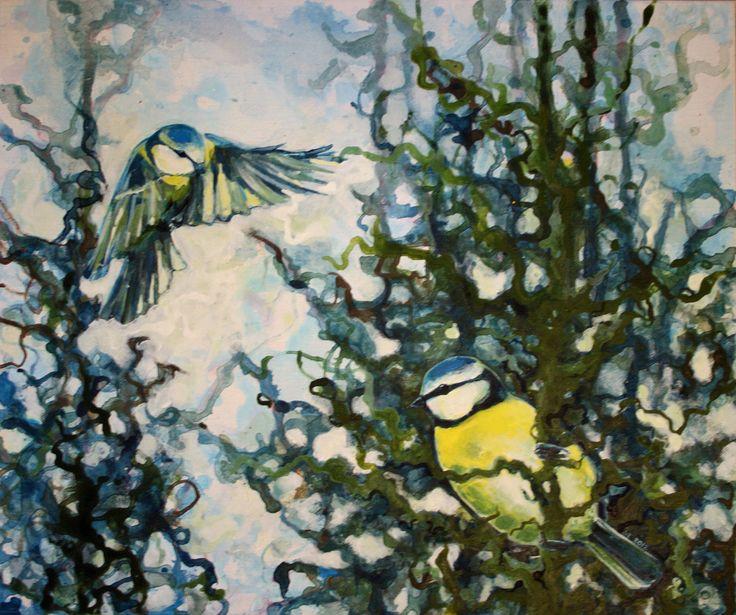Blåmeis - Sissel Endresen - birds - blue tit - painting