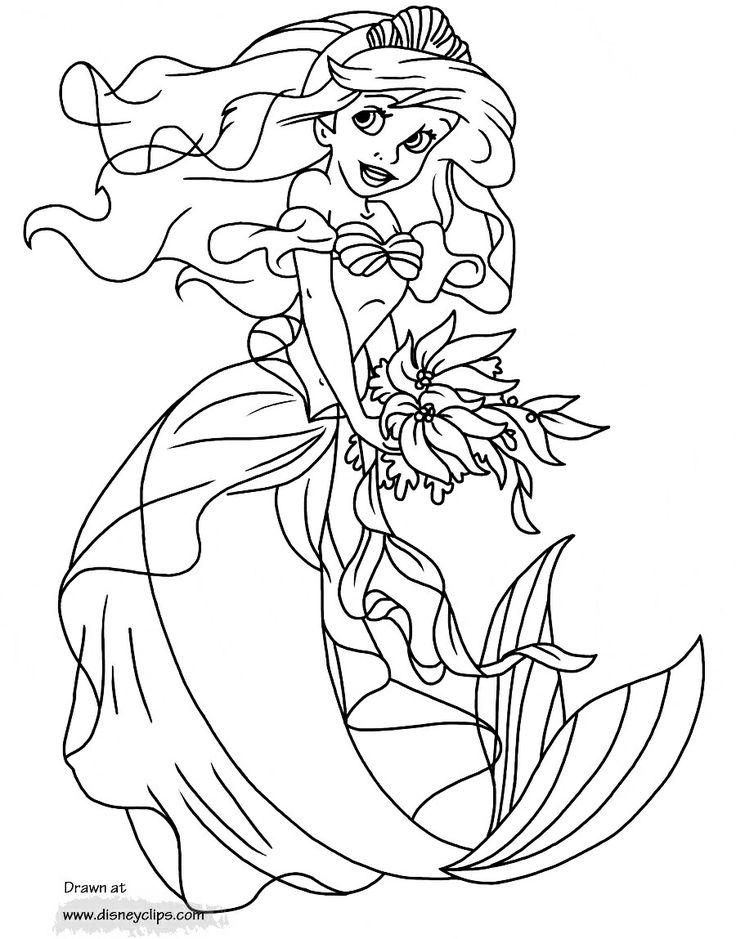 Mejores 104 imágenes de Coloring: Princess Ariel en Pinterest ...