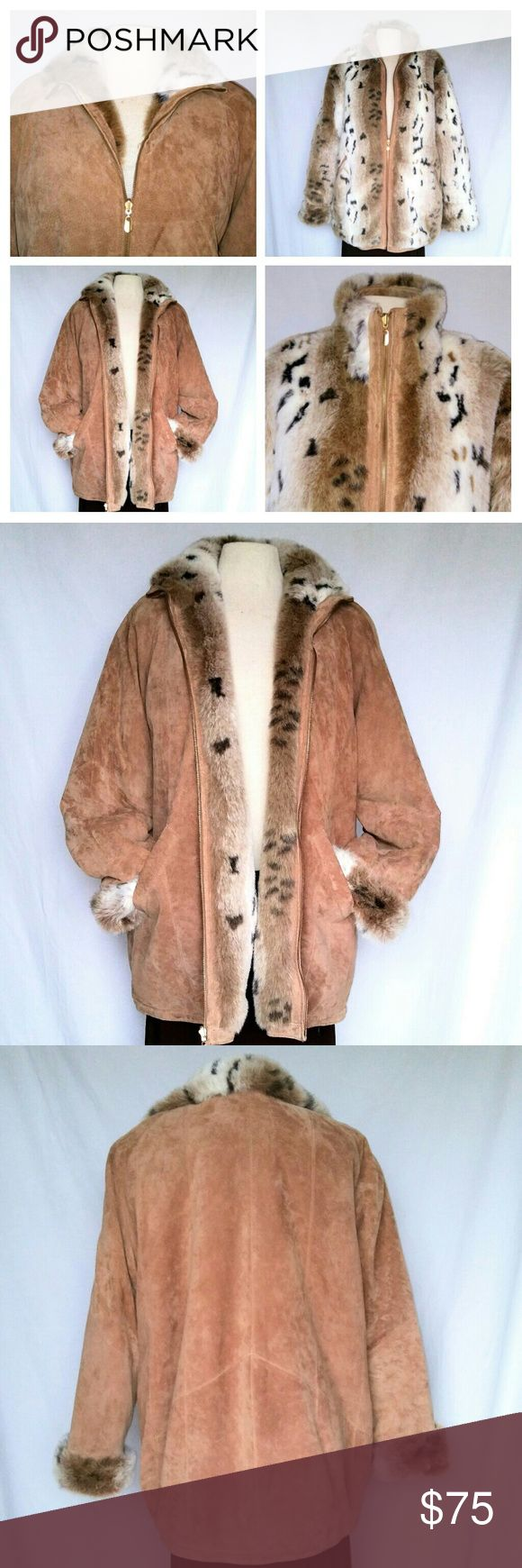 WINLIT Reversible Suede & Faux Fur Coat 80s Vintage Winslit Reversible Coat: 100% Suede Leather + Animal Print Faux Fur! Pockets on both sides. Tag inside pocket. Reversible zipper. Women's Large. In excellent used condition. Shows hardly any wear. Small green mark on bottom of one sleeve, but it doesn't show when the cuff is rolled, which is how it should be worn. Note that I have not tried to remove the mark. Faux fur side is perfect. From a smoke free home. Make an offer! Vintage Jackets…