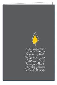 Weihnachtskarte Kerzentext – mehrsprachige Weihnachtsgrüße in Form einer Kerze – Anthrazit mit goldenem Umschlag