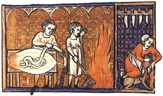 A Feast For The Eyes  48. Preparing sausage skins; Flemish, 14th century.