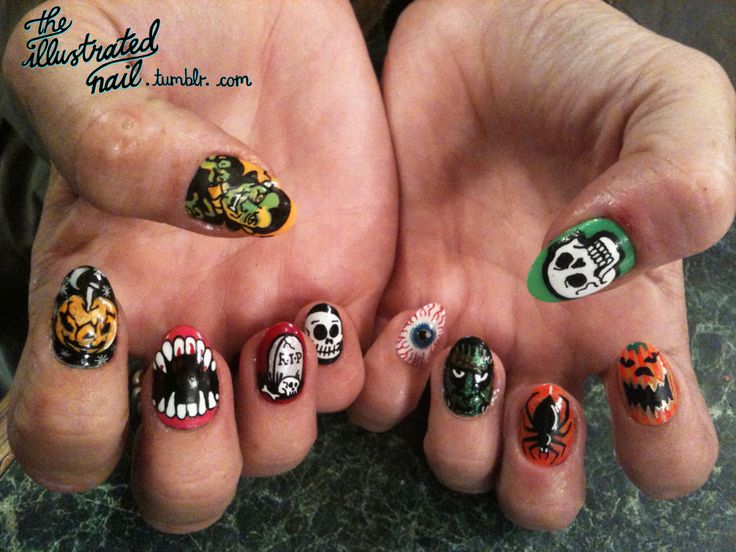 Halloween nails: Halloween Monsters, Awesome Halloween, Coolio Nails, Nails Art, Nails Halloween, Goulish Nails, Details Halloween, Happy Halloween, Halloween Nails