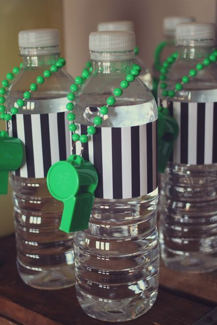 Water break! These referee dressed water bottles are perfect for your time out.