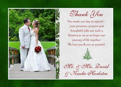 Christmas Tree Wedding Thank You Card Red Green Holiday