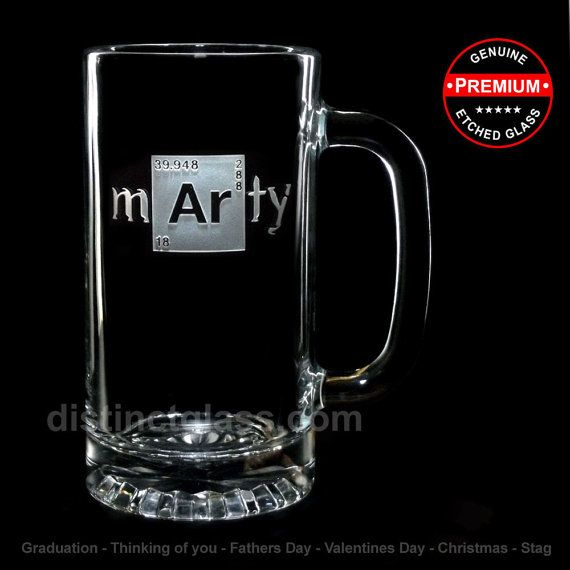 Set of 2 Personalized Breaking Bad-inspired Beer Mugs for all Breaking Bad Fans. 2 Beer Mugs with 1 name (first OR last) deeply-etched on them.