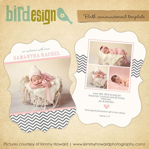 instant download birth announcement template ornate 5x7 fashion chevron e461 babies