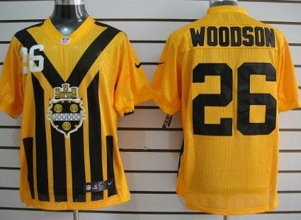 Men's Pittsburgh Steelers #26 Rod Woodson 1933 Yellow Throwback Jersey