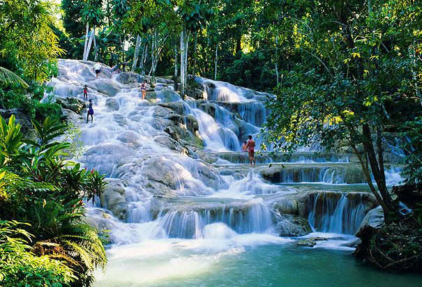 Dunn River Falls, Jamaica. Jeff & I climbed the falls while we were there. One of the coolest things I have ever done :)