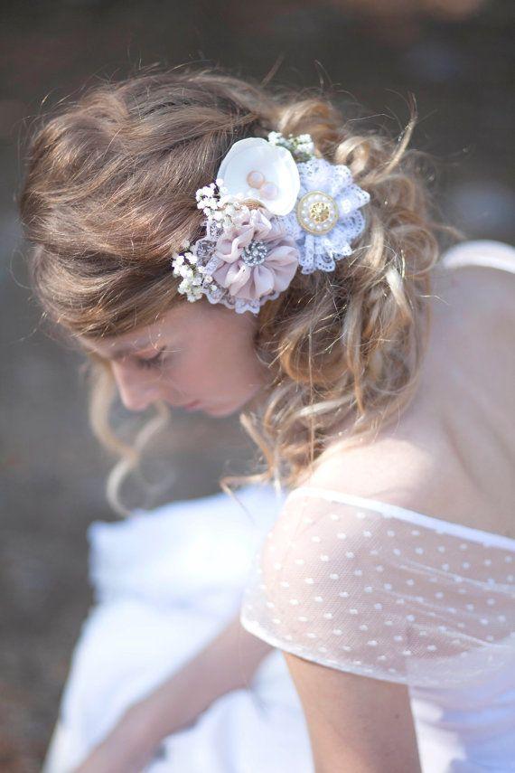 Bridal hair flower set of 3 brooches wedding by MySecretFace, $65.00
