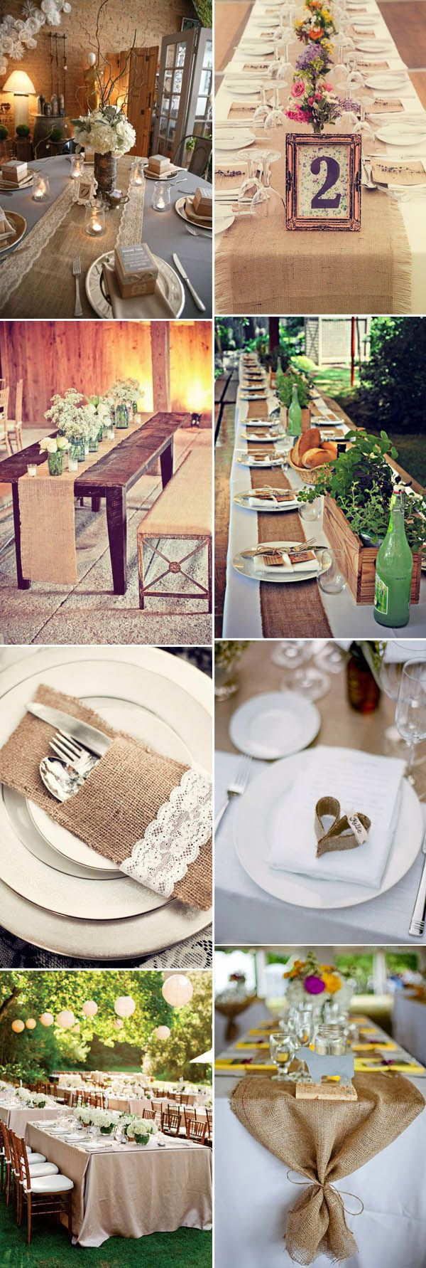 fantastic burlap and lace wedding table setting ideas