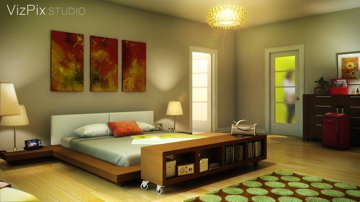 Modern funky bedroom visualization rendered in 3ds Max. For more from VizPix Studio, please visit our website:  http://www.vizpixstudio.com/