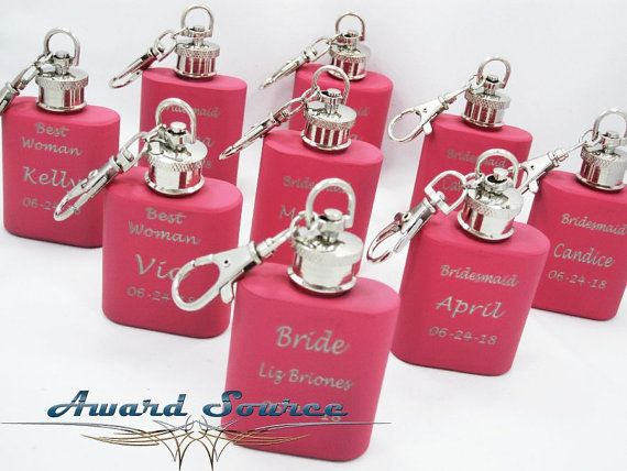 Bridesmaid Gift - Personalized Custom Engraved 1 oz Key Chain Pink Stainless Steel Flask - Three Lines of Text Engraved on Etsy, $5.00