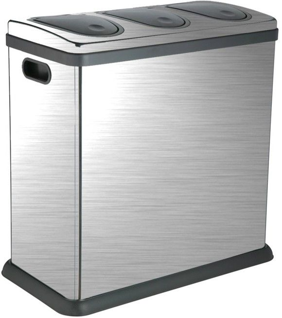 Triple Recycling Bins   Trio 60 Litre Brushed Stainless Steel Kitchen  Recycling Bin