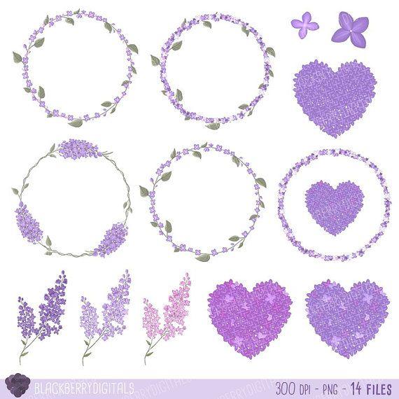 Floral Clipart lilac clip art valentine's by BlackberryDigitals