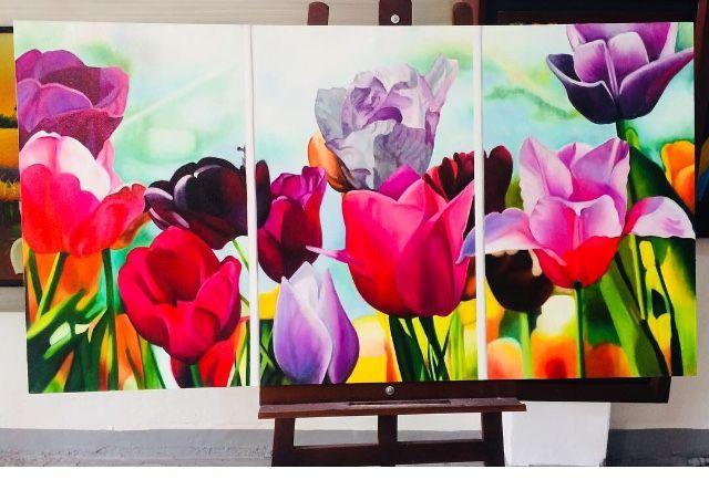 Tríptico de flores#cuadro al oleo#pincel#M.calderon#