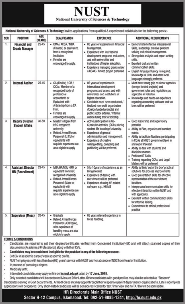 National University of Science and Technology Jobs 2018