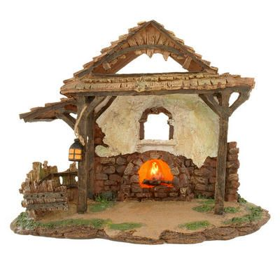 5 Inch Lighted Village Stable