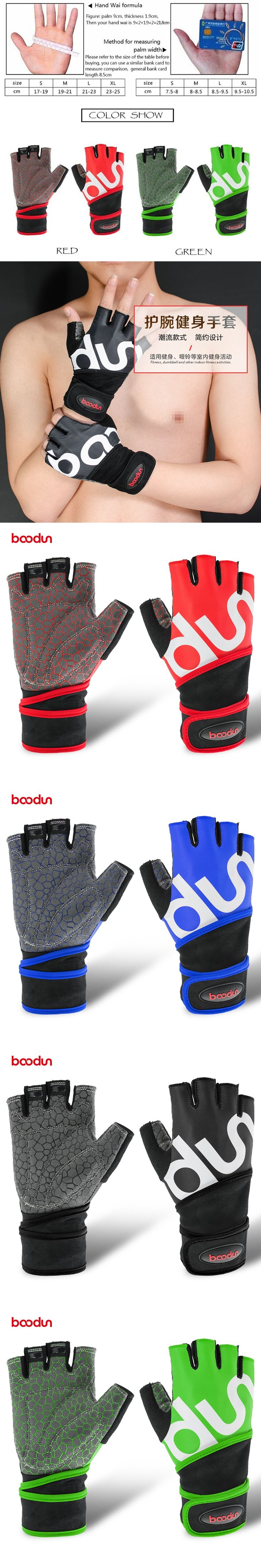 Boodun Men Women Half Finger Crossfit Gym Gloves Fitness Gloves Body BuildingWeight Lifting Wrist Sport Gloves for Musculation