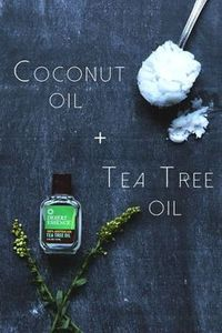Coconut Oil + Tea Tree Oil When these two oils are combined, it produces a serum that will help reduce redness in rashes and acne. The antiseptic properties will help to treat and prevent blemishes that appear on the face. Mix a few drops of tea tree oil to a spoonful of coconut oil and combine until a clear serum has formed. Spread evenly on the face before bed and wash off in the morning!