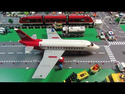 Lego City Airport & Passenger Train on ELEVATED TRACK - YouTube