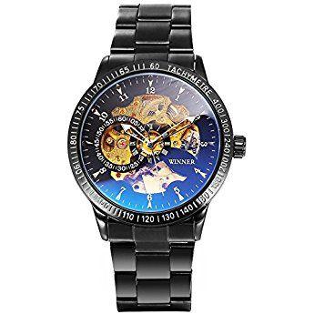 [エーエムピーエム24]AMPM24 メンズ 自動巻き 機械式 腕時計 ブルー レイ ガラス スケルトン 文字盤 ブラック PMW509