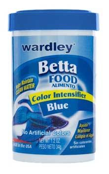 Betta Food Blue 1.2oz 3pks, Wardley -- Wardley Products - Betta Food Blue. Wardley Color Intensifier for Blue Bettas. Balanced and nutritious, mini floating pellets, formulated with Carotene, spirulina, marigold, and shrimp meal, for intense Betta color! Formulated for Bettas and other small tropical fish, this diet contains no artificial colors or dyes that can harm fish or cloud water.