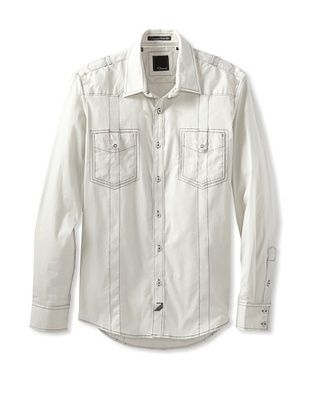 7 Diamonds Men's Seven Cities Double Pocket Long Sleeve Shirt (Light Grey)