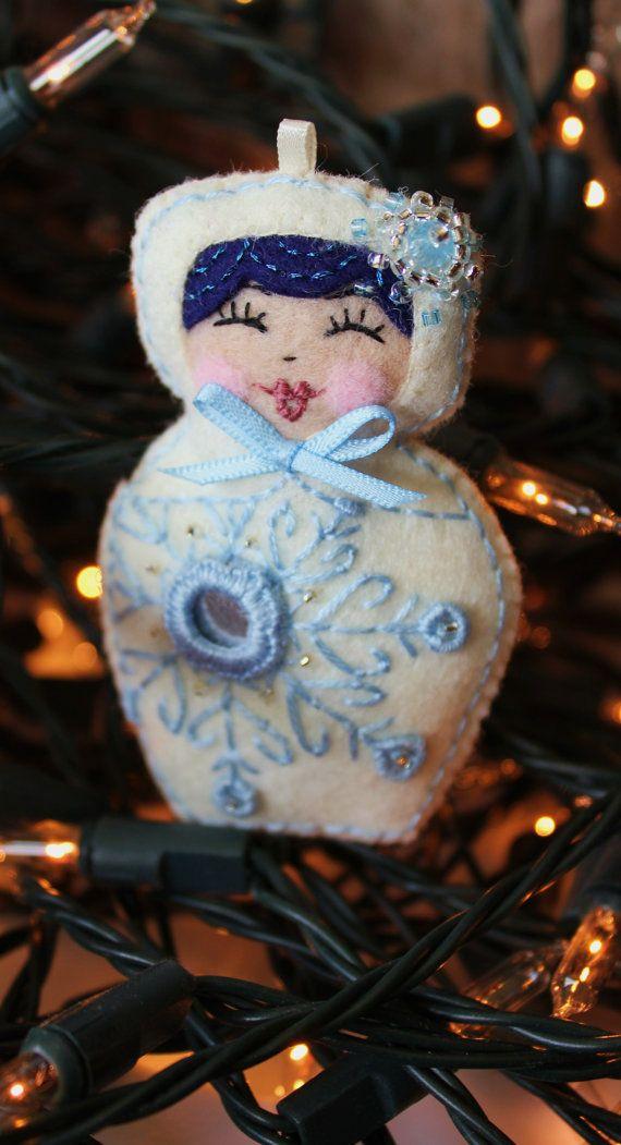 Matryoshka  Snow Maiden Hand embroidered by TheSnowQueensGarden, $17.00