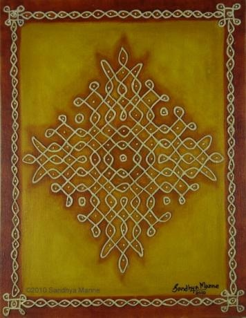 """Mixed Media Kolam One"""" has been inspired by the ancient Indian art of small to elaborate patterns made of dots and lines called KOLAMS.  The artwork is done on Canvas Board and I have used Clay to do the embossed dots and lines.I wanted an earthy background and so used Yellow Ocher and Sienna on the Borders..."""