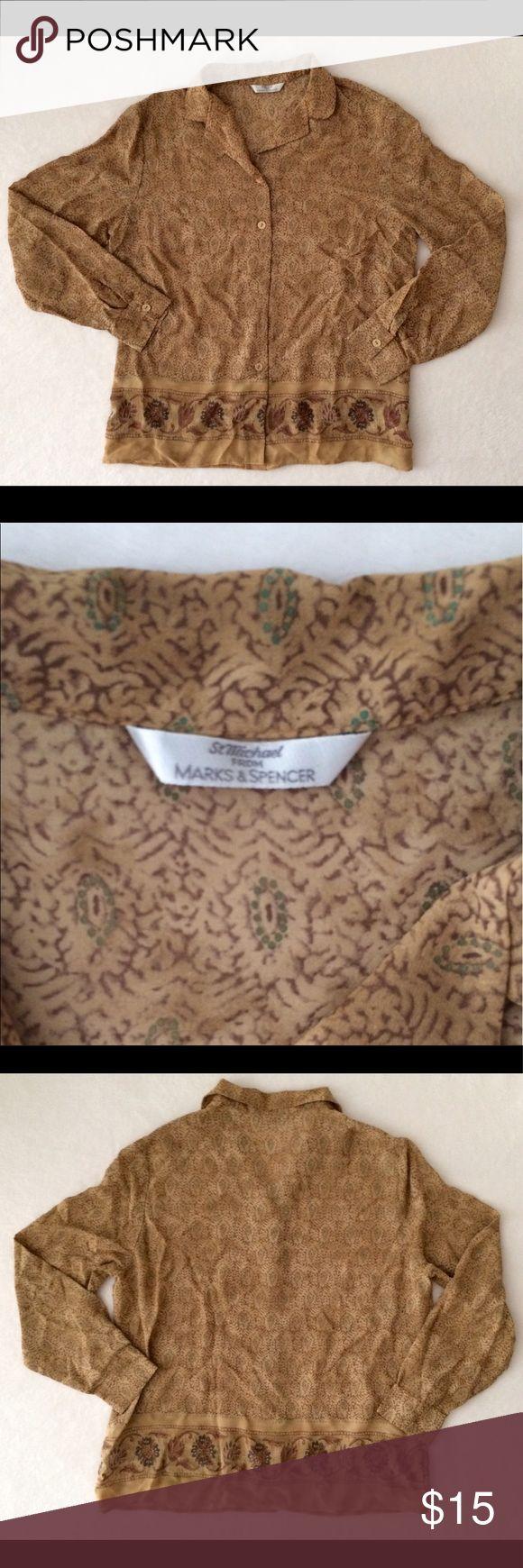 "Marks & Spencer Women's beige blouse size 12 St. Michael for Marks & Spencer. Beige Women's Blouse. Size 12. Materials: 100% Viscose.                                                                   Measurements: CHEST 21"" ARM LENGTH 29"" CUFF 4"" TOTAL LENGTH 24,5"" Marks & Spencer Tops Blouses"