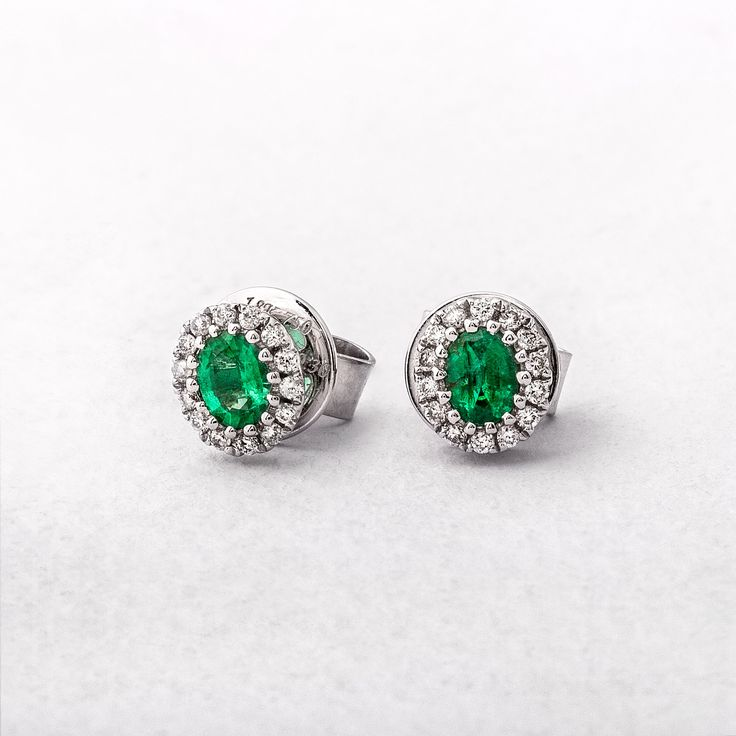 White Gold, Emerald and Diamond Studs