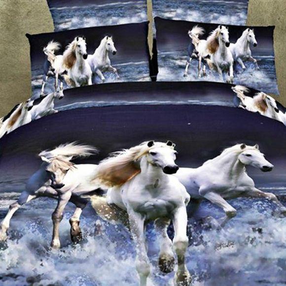 3d постельные принадлежности / лошадь подножка / хлопок / 3d постельное белье / пододеяльник плоский лист наволочка / король двуспальная кровать размера обложка кровать