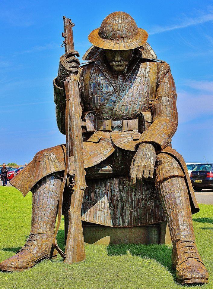 """Tommy, a 9ft sculpture of a World War One soldier, officially called Eleven """"O"""" One, is locally nicknamed Tommy. The amazing work of Ray Lonsdale, of South Hetton."""