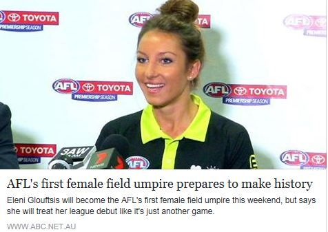 It is another big first for the AFL, but Eleni Glouftsis says she will try