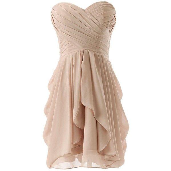 Dressystar Chiffon Bridesmaid Dress Short Sweetheart Homecoming Dance... ($30) ❤ liked on Polyvore featuring dresses, vestidos, short dresses, robes, bridesmaid dresses, sweetheart dress, beige cocktail dress, short chiffon dress and chiffon mini dress
