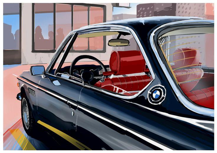 BMW CSL Coffee scene / Peinture digigraphie sur toile mix acrylique. Format : 90x63 cm / exemplaire : 8  Signé et numéroté avec certificat d'authenticité