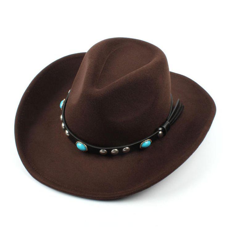Mens Women Vintage Woolen Western Cowboy Hat Wide Brim Cowgirl Jazz Cap Horse Riding Hat - Banggood Mobile