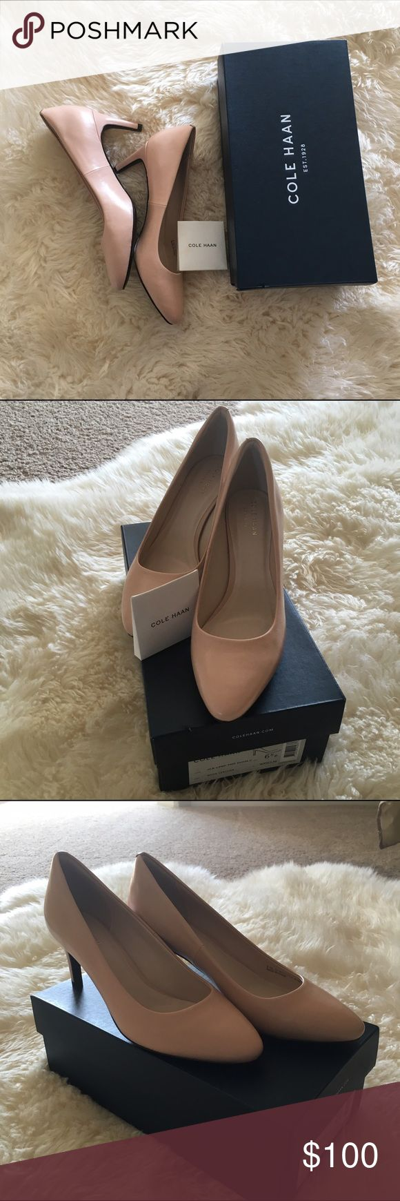 Cole Haan Hellen Grand Pump (65mm) Gorgeous Cole Haan pumps in nude leather. Comes with spare heel tips. New in box, size 6.5 B (narrow. Cole Haan Shoes Heels