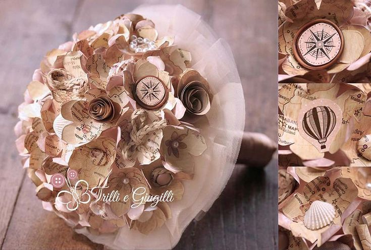 Bouquet con cartine vintage per matrimonio a tema viaggio. Alternative bouquet for travel themed wedding with old maps.  #bouquet #wedding