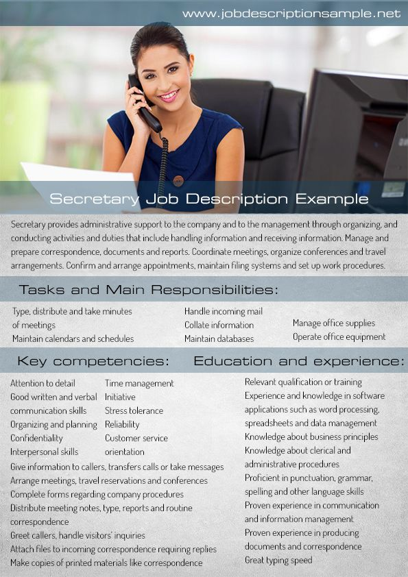 secretary job description sample 10 best job description sample images